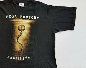 Vintage 1998 Fear Factory Obsolete Album T Shirt size XL (W 24 x L 29) | Black Sabbath Alice In Chains Megadeth Napalm Death
