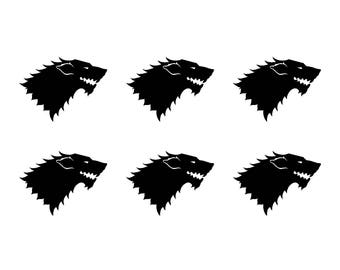 Game of Thrones Stark House Sigil Small Vinyl Decals Stickers Set of 6