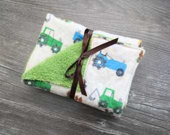 Sale!!!  Set of Three (3) Burp Cloths - Handmade- Terry Cloth - Tractor Themed