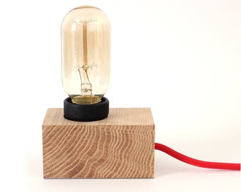 Lampe_Charly / lamp vintage wooden design / vintage lamp