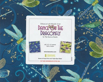 "Benartex - Dance of the Dragonfly Metallic 10"" Squares/Layer Cake by Kanvas Studios - 42, 10"" x 10"" Precut Fabric Squares"