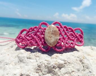 Fossilized coral macrame bracelet