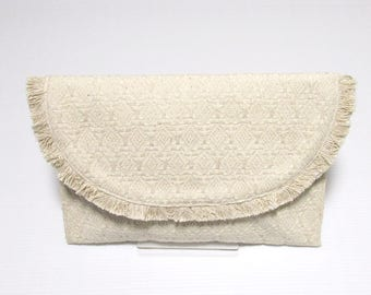 Swaraj Bag geometric pattern chain bag - OFF WHITE woven jacquard clutch bag 2-WAY