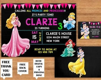 Disney Princess Girls Birthday Invitations with Free Thank You Cards