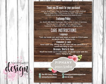 PIPHANY Care Card, Consultant Post Card, P!phany Exchange Policy, Wash Instructions, Rustic Wood Shabby Chic Enclosure Postcard PRINTABLE