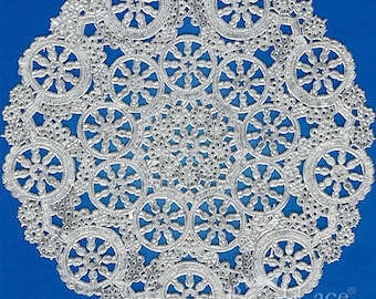 """10"""" Medallion Silver Foil Paper Doilies Royal Lace, 8/PK Made In The USA"""