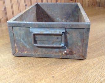 Vintage Metal Drawer, Rusty Metal Bin, Rustic Metal Storage Box, Heavy Duty Farmhouse Tray, Industrial Storage, Cottage Chic Storage Decor
