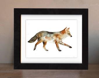 coyote artwork, coyote art print, coyote gift idea, coyote art, coyote decor, coyote wall art, wildlife art, art print, saltwatercolors