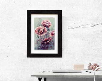 poppy, flower, watercolor, print artwork, art and collectibles, giclee, floral art, wall art, decoration, flower decor, pink, free shipping
