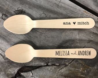 Personalized Wooden Utensils Available in Three Sizes - Custom Text or Graphic - Font Choice - FREE U. S. SHIPPING
