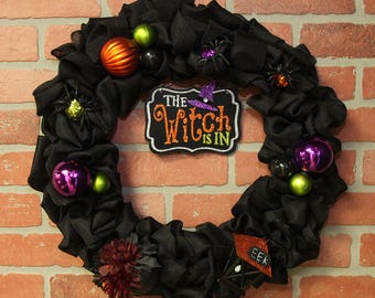 Halloween Burlap Wreath, Black Burlap, Lantern, Witch