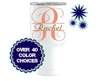 Yeti Decal, Tumbler Decal For Women, Yeti Cup Decal, RTIC Decal, Ozark Trail Decal, Monogram Decal, Initials Name Decal, Yeti For Women