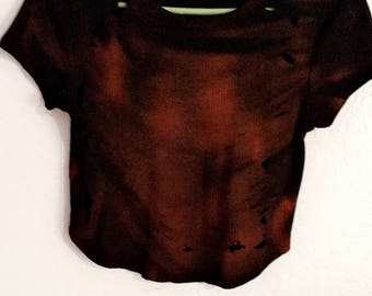 Distressed and bleached black crop top size Medium