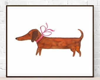 Original Dachshund Watercolor-Size A4-original painting, no print-dog watercolor-Year of the Dog-original art gift-animal watercolor