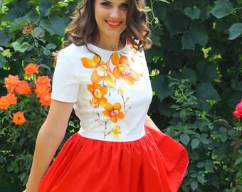 Orchid Beauty - Hand Painted Short Dress by Irina MADAN / 100% Handmade Dress / Orchid Dress