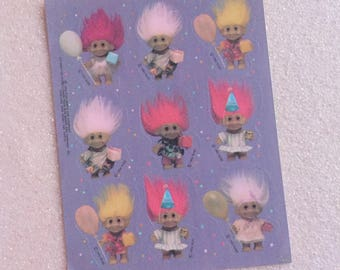 1992 Vintage Troll Doll Full Sticker Sheet 90s 1990s Pink Hair Russ Berrie & Co Stickers Party Birthday Decoration Trolls Balloons Gift