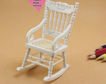 Dolls House Miniature White Rocking Chair