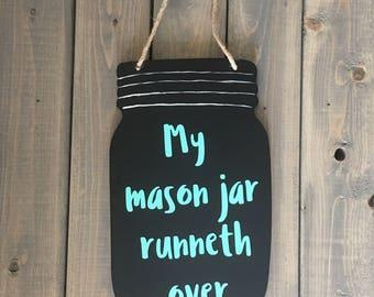 Hanging mason jar sign