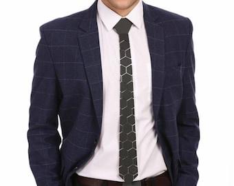 Dapper Silver/Black/Gold Style Tie - Honeycomb Style ( Suit Accessories - NeckTie, Hex Neck tie Style)