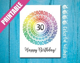 30th Birthday Card to Print, Rainbow Happy Birthday 30 Card, Age 30 Card, Colorful Birthday Card A2, 30th Birthday Wishes to Write in a Card
