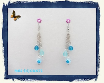 Turquoise pendant earrings - silver chain earrings - millefiori beads and glass beads