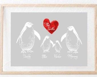 Personalised Penguin Family Print
