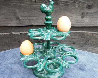 Vintage Cast Iron Egg Rack, Metal Egg Holder, Vintage Kitchen, Kitchen Storage, Egg Basket, Stand for 12 Eggs, Farmhouse,Cottage Decor