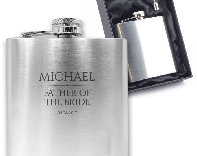 Personalised engraved FATHER OF the BRIDE hip flask wedding thank you gift idea, stainless steel presentation box - BR1