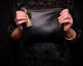 Classic Clutch Bag Purse - Black Leather