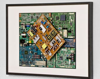 "Industrial, Computer, Circuit Board Picture Frame Wall Art (28.5"" x 20.5"")"