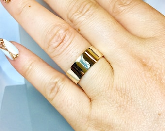 BIG SALE 14k/10k Solid Gold Cigar Bands - Women Gold Ring - Gold Wedding Band - Gold Thumb Rings - 14k Gold Pinky Ring - Wide Gold Band