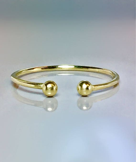 Sale 14k 10k Solid Gold Ball Cuff Ring Open Gold Ring