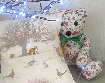 woodland cushion cover, case, fox, owl, stag. 16 inch cover.english counryside theme.