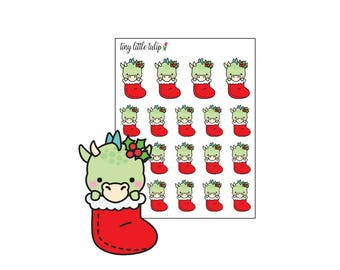 Planner Stickers Christmas Dragon in a Stocking