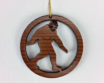 Bigfoot Sasquatch Christmas Ornament California Redwood Handmade Wood Ornament Made in USA