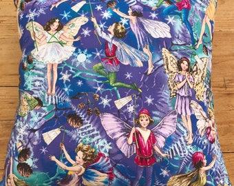 Fairy Print Cushion, Midnight Fairies, Baby Girl Cushion, Girl's Cushion, Fairy Theme Bedding, Fairy Theme, Michael Miller, Twilight Fairies
