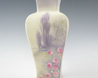 American Studio Hand Painted Pickard Porcelain Vellum Vase by E. Challinor