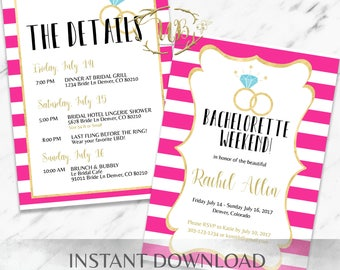 Hot Pink Bachelorette Party Invitation Template - INSTANT Download