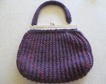 Purple Knitted Hand Bag w/ magenta silk lining