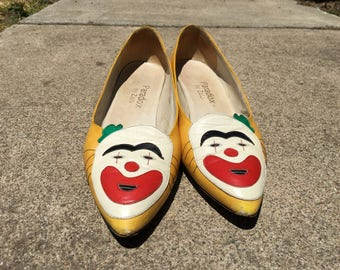 Vintage 70s paradox clown pointed toe flats made in italy