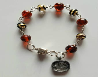 Gold Murano Gold Foil Beaded Bracelet with Sterling Silver