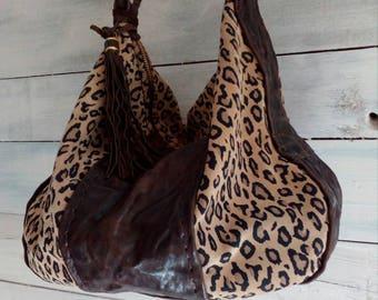 Italian leather bag leopard pattern