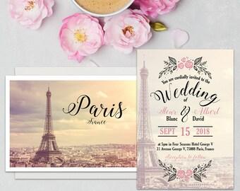 Premium Paris Wedding Invitation, Paris Wedding, French Wedding, Romantic Wedding, Printable, Invitation template, Wedding invitation