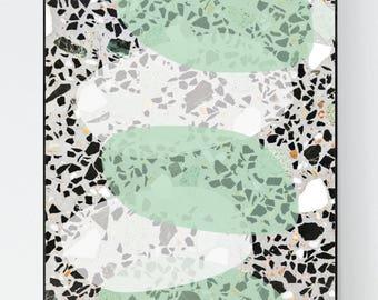 Terrazzo Stone pattern design print green pastels