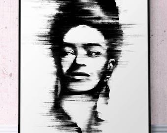 Poster Frida Kahlo Printable Wall Art, Portrait Frida Kahlo Print, Minimalist Frida Black and White Abstraction Art Brush Stroke Art Prints
