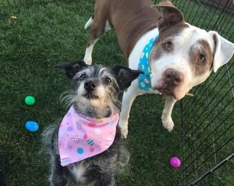 Easter Eggs on Pink - Easter Bandana - reversible pet bandana - dog bandana - cat bandana - unique pet accessory