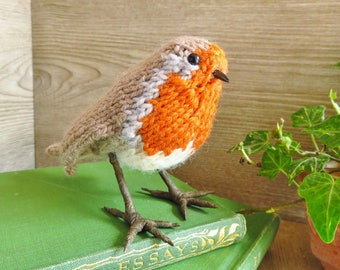 Knitted bird - robin, realistic life-size little bird for rustic home decor