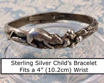 Adorable Rare c1915 Sterling Silver Child's Bracelet Squirrel on Limb with Acorns