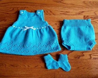 Baby dress with diaper cover and booties