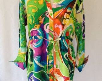"""HECK YEAH FASHIONS:Jams World (""""Collector's Edition""""), Cirque Soleil Green Abstract Print Summer Tunic, Curved Hi-Lo Hem, Gathered Tie Waist"""